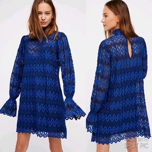 Free People Lace Pattern Mini Dress